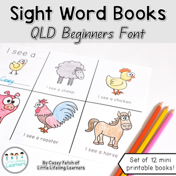 Sight Word Books - Mini Early Reading Printables - QLD FONT