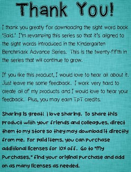 Sight Word Book-Said (Kindergarten Benchmark Advance)