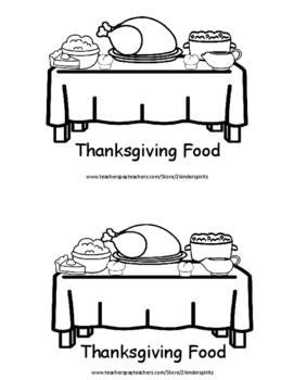 Sight Word Book Thanksgiving Food