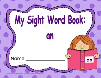 "Sight Word Book and Emergent Reader-""an"""