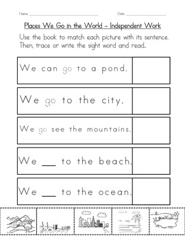 """Sight Word Book and Practice for """"Go""""  Color the Sight Word Book 24"""