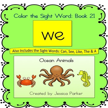 "Sight Word Book and Practice for ""We""  Color the Sight Word Book 21"
