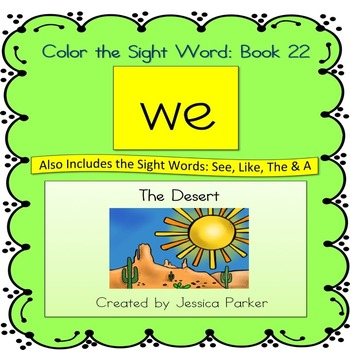 """Sight Word Book and Practice for """"We""""  Color the Sight Word Book 22"""