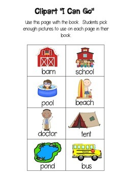 """Sight Word Book """"can go to""""  (Rebus Style)"""