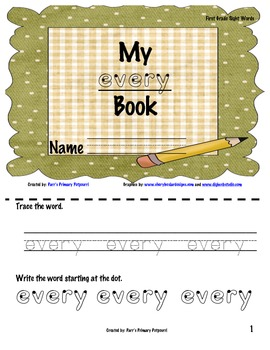 Sight Word Book - every