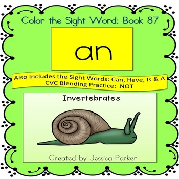 """Sight Word Book for """"An"""" Color the Sight Word Book 87"""