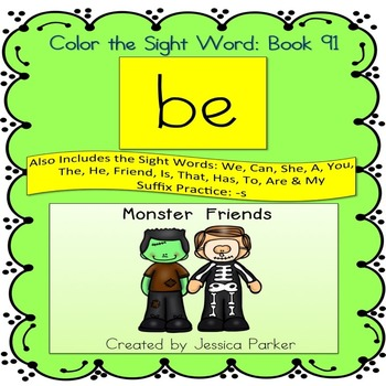 """Sight Word Book for """"Be"""" Color the Sight Word Book 91"""
