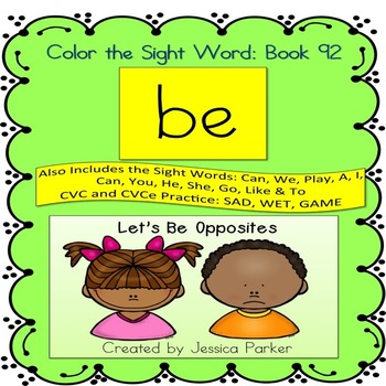 "Sight Word Book for ""Be"" Color the Sight Word Book 92"