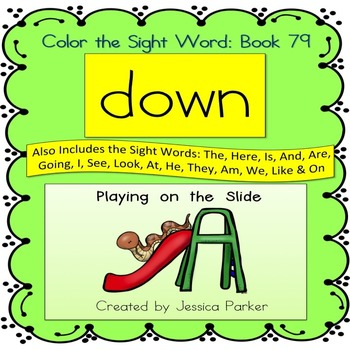 """Sight Word Book for """"Down"""" Color the Sight Word Book 79"""