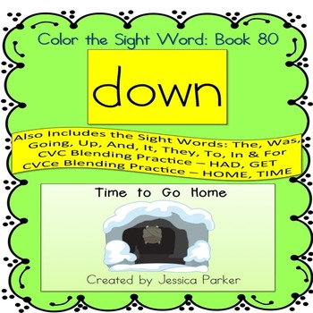 """Sight Word Book for """"Down"""" Color the Sight Word Book 80"""