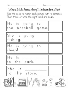 """Sight Word Book for """"Going"""" Color the Sight Word Book 61"""