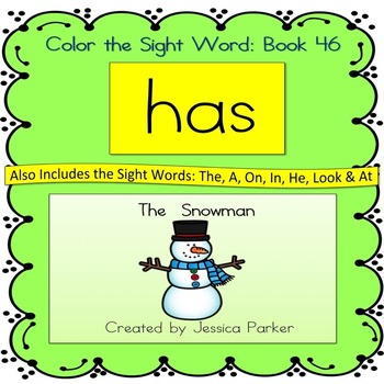 """Sight Word Book for """"Has"""" Color the Sight Word Book 46"""