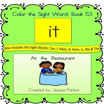 """Sight Word Book for """"It"""" Color the Sight Word Book 53"""