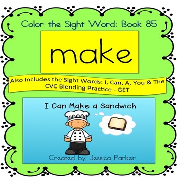 """Sight Word Book for """"Make"""" Color the Sight Word Book 85"""