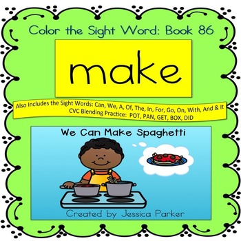 "Sight Word Book for ""Make"" Color the Sight Word Book 86"