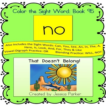 "Sight Word Book for ""No"" Color the Sight Word Book 95"