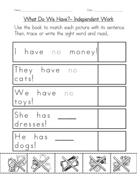 """Sight Word Book for """"No"""" Color the Sight Word Book 96"""