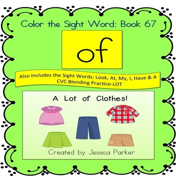 """Sight Word Book for """"Of"""" Color the Sight Word Book 67"""
