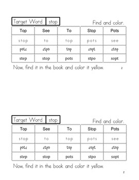 "Sight Word Book for ""Stop"" Color the Sight Word Book 81"