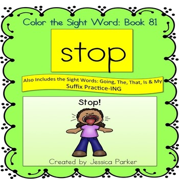 """Sight Word Book for """"Stop"""" Color the Sight Word Book 81"""