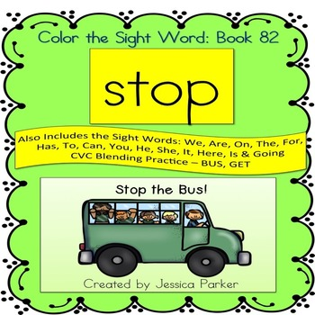 """Sight Word Book for """"Stop"""" Color the Sight Word Book 82"""