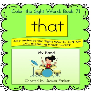"""Sight Word Book for """"That"""" Color the Sight Word Book 71"""