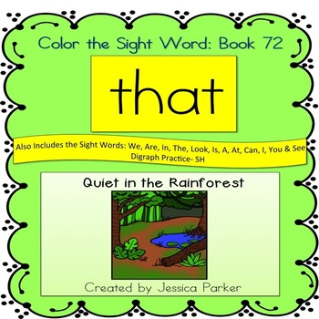 """Sight Word Book for """"That"""" Color the Sight Word Book 72"""