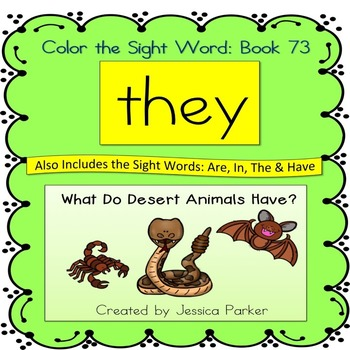 """Sight Word Book for """"They"""" Color the Sight Word Book 73"""