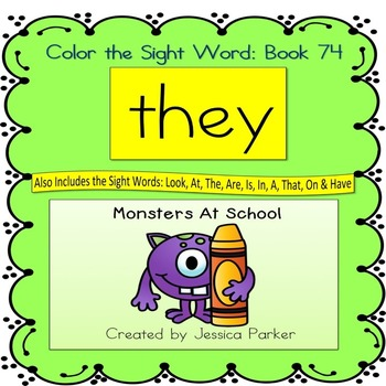 """Sight Word Book for """"They"""" Color the Sight Word Book 74"""
