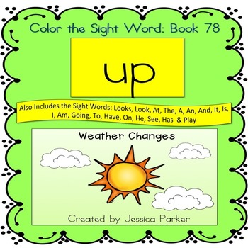 "Sight Word Book for ""Up"" Color the Sight Word Book 78"
