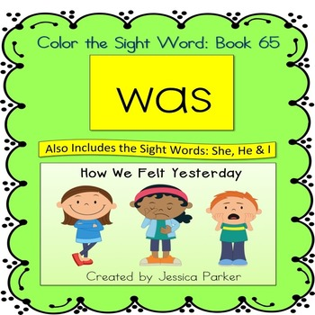 """Sight Word Book for """"Was"""" Color the Sight Word Book 65"""