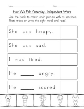 "Sight Word Book for ""Was"" Color the Sight Word Book 65"