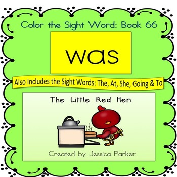 "Sight Word Book for ""Was"" Color the Sight Word Book 66"