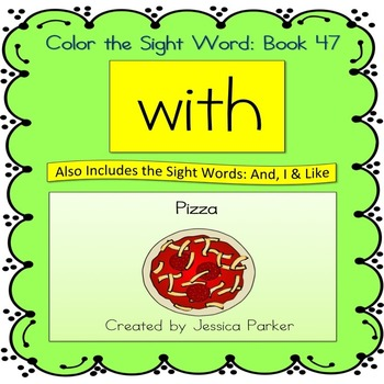 """Sight Word Book for """"With"""" Color the Sight Word Book 47"""