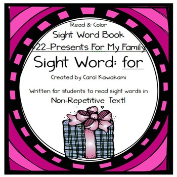 "Sight Word Book for the Sight Word ""for""; Sight Word Book #22"