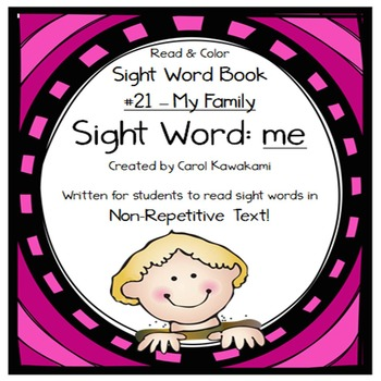 """Sight Word Book for the Sight Word """"me""""; Sight Word Book #21"""