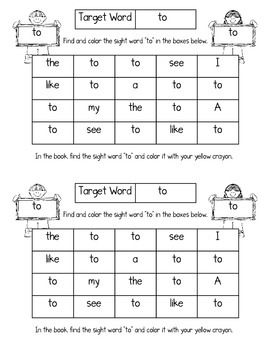 """Sight Word Book for the Sight Word """"to""""; Sight Word Book #6"""