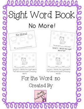 Sight Word Book for word no - No More! bundle