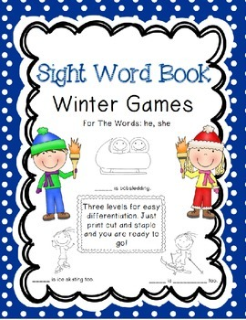 Sight Word Book for words he, she - Winter Games