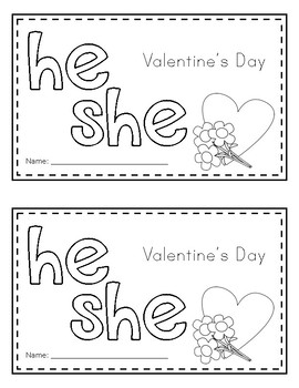 Sight Word Book (he, she) *Valentine's Day Edition*