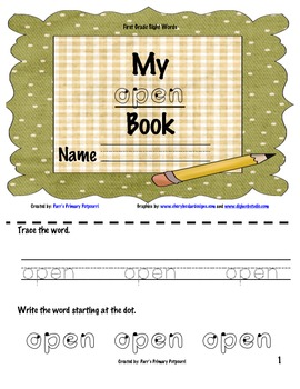 Sight Word Book - open