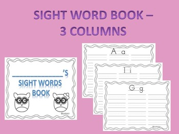 Sight Word Book with 3 Columns