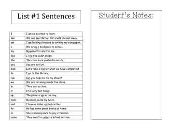 Sight Word Book with Sentences