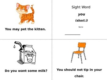 Sight Word Book (you & it)
