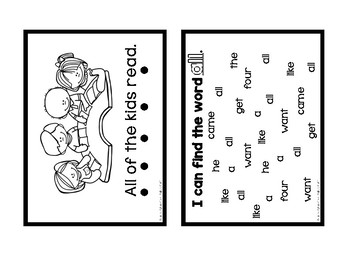 Sight Word Booklet Sample ALL