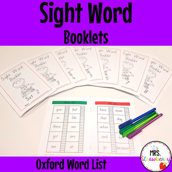 Sight Word Booklets K-6 Homework {Oxford Word List}
