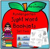 Kindergarten Sight Word Booklets - Set Two