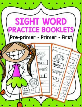 Sight Word Practice Booklets & Assessment Templates (Pre-primer, Primer, First)