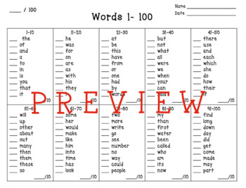 Sight Word Bookmarks: Fry's first 500 Words and Progress Tracking for Teachers