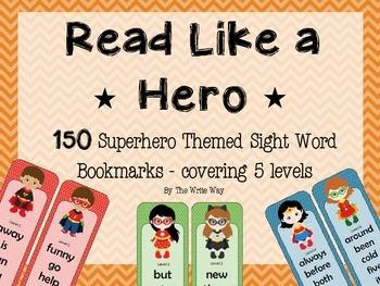 Sight Word Bookmarks - Superhero Theme